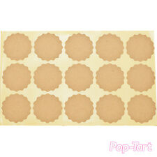 60 x Plain Kraft Scalloped Round Stickers Blank DIY Sticky Labels Rustic Crafts