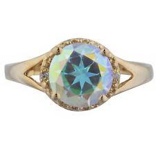 Natural Mercury Mystic Topaz & Diamond Halo Ring 14Kt Yellow Rose Gold Silver