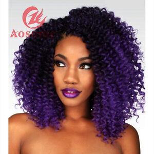 "3pcs/set Ombre Purple Braids MALI BOB Curly Weave Synthetic Hair Extension 8"""