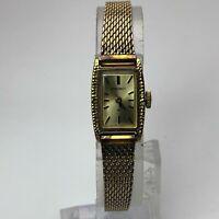 Sieko Womens 11-3180 Wind Up Gold Tone japan Movement Quartz Analog Wristwatch