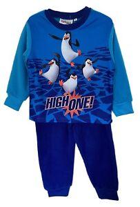 Penguins of Madagascar Blue Fleece Boys Pyjama Shirt Set, Full Sleeves Nightwear