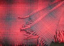 lana cuadros, Manta de lana Colcha 130x170cm, 100% lana merina, rojo / Negro