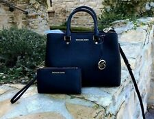 NWT Michael Kors Saffiano leather Savannah LG Satchel handbag/Wallet black/gold