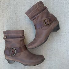Pikolinos Brujas Brown Leather Buckle Slouchy Heeled Boots 38