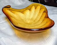 Princess House Amber Gold Cream Cloud Triangle Candy Trinket Art Glass Dish