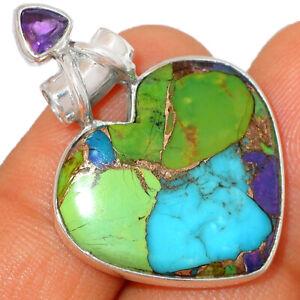 Heart - Multi Copper Turquoise & Amethyst 925 Silver Pendant Jewelry BP41330