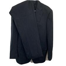 Pal Zileri Size 56 L 8 35x33 Drop Black Pinstripe Full Suit Double Vent Wool