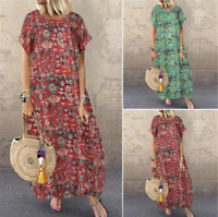 Womens Boho Floral Print Maxi Dress Crew Neck Linen Baggy Plus Size Sundress AU