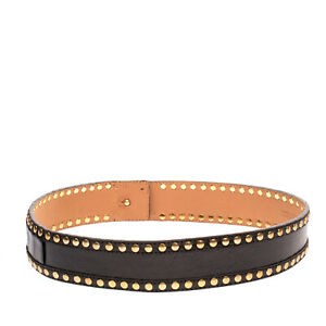 BETTY BLUE Leather Waist Belt Size XS Studded Crumpled Effect Made in Italy