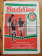 Walsall v Hartlepool & Lincoln City 1979/80 - Newspaper programme