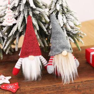 1pc RedGary Cute Christmas Cap Faceless Doll Little Figurine Ornament Decoration