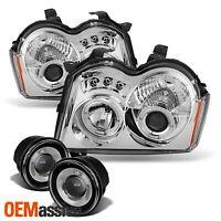 Fits 05-07 Grand Cherokee Halo Projector LED Headlights + Halo Fog Lamp W/Switch