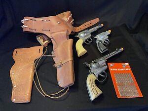 Lot Vtg Toy Western Cap Guns Leather Holsters Caps Mattel Fanner Pony Boy Kusan