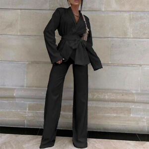 Women Casual Set Lapel Belt Blazer Coat Straight Legs Pants Chic Party Suit 2Pcs