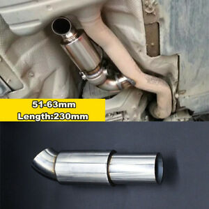 "Chrome Universal 2"" In/Out Exhaust Muffler / Resonator Stainless Steel Car SUV"