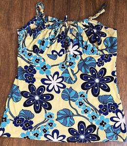 JANE NORMAN Yellow Blues & White Floral Strap Top Size 14