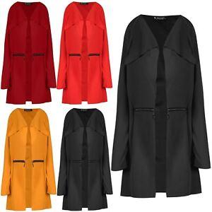 Womens Long Sleeves Waterfall Loose Fit Ladies Cardi Jacket Cardigan Coat New