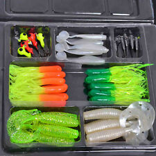 35pc Soft Worm Fishing Baits 10 Lead Jig Head Hooks Simulation Lures Tackle hot