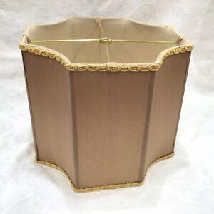 "12""x10"" Gold Beige Fabric Silk Square Drum Lamp Shade Trim Octagonal Scalloped"