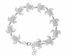 SOLID 925 STERLING SILVER HAWAIIAN SEA TURTLE LINK BRACELET CZ RHODIUM 7.5 INCH