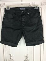 Zara Man Mens 30 Cuffed Shorts Black Vegan Leather Stretch Mid Length Pockets