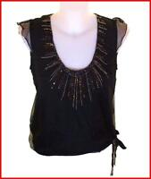 Bnwt Women's French Connection Silk Sequin Blouse Tank Top Black Fcuk RRP£65 New