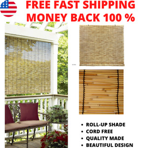 Indoor Outdoor Window Blinds Natural Roll Up Shade Sun Bamboo 72 in W x 72 in