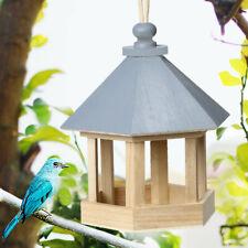 Wild Bird Feed Dispenser Wooden Bird Feeder Bird House With Roof Yard Decoration