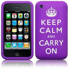 Pour iPhone 3/3GS Keep Calm & Carry On en caoutchouc souple peau étui Housse-Violet