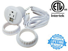Table Desktop Power Grommet Outlet 1 US Plugs  2 USB Charging Ports Adapter WHT
