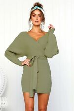 UK Womens Wrap V Neck Knit Belted Bodycon Jumper Dress Ladies Winter Party Dress
