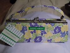 Laura Ashley Floral Hard Case Snap Top 2 Pocket Pencil Pouch Small Purse NWT