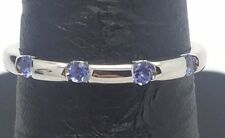 10K White Gold Four Round Purple - Blue Tanzanite  Band Ring Sz 6.75