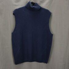 Dries Van Noten Turtleneck Sweater Vest Size L Navy Blue Wool Ribbed