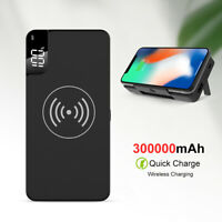 300000mAh Power Bank Qi Wireless Charging Stand USB LCD Portable Battery Charger