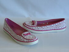 Sperry Top-Sider Dark Pink/White Lace/Patent Leather Trim Flats/Loafers-7M– GR8!