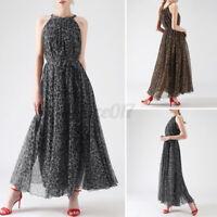 Mode Femme Robe Belle Ample Sans Manche Imprimé Leopard Dresse Maxi Long Plus