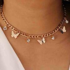 Collar cadena mariposa Gargantilla de cristal para mujer Cadena de clavícula IC