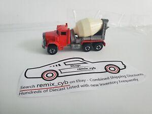 1979 Hot Wheels Red Peterbilt  Cement Mixer Truck Workhorse - B