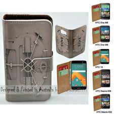 For HTC One X9 10 M9 M8 Desire 820 626 - Bank Vault Print Flip Wallet Phone Case