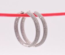 Earrings 14K White Gold Clad Silver 925 35mm Inside Out Diamonique Pave Cz Hoop