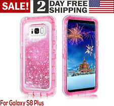 Samsung Galaxy S8 Plus Hybrid Bling Liquid Glitter Rubber Protective Case Cover