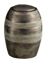 Ceramic Cremation Ashes Urn (Brown with Grey Textured Stripes) Made with Love