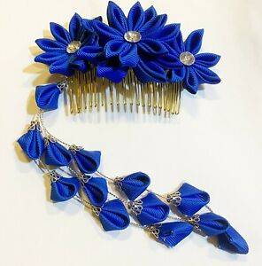 Japanese Kanzashi Prom Bridal Hair Comb in Royal Blue Color with Tassle