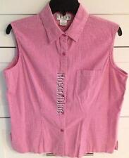 PRETTY PINK WHITE GINGHAM P L BLOUSE LARGE PETITE COTTON STRETCH SHIRT BEAUTIFUL