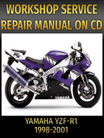 Yamaha YZF-R1 Service and Repair Manual YZFR1 R1 1998 1999 2000 2001 PDF CD