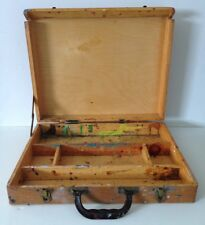 Vintage Wooden Artist Painters Box Dovetailed Case Oils Pastels Acrylics Travel
