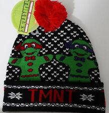 Teenage Mutant Ninja Turtles Gingerbread Fair Isle TMNT Pom Cuff Knit Hat Nwt
