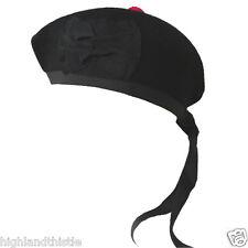 Black Plain Kilt Hat Glengarry Scottish Wear 57cm
