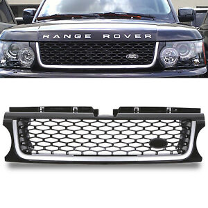 BLACK SILVER AUTOBIOGRAPHY STYLE FRONT GRILL GRILLE FOR RANGE ROVER SPORT 10-13